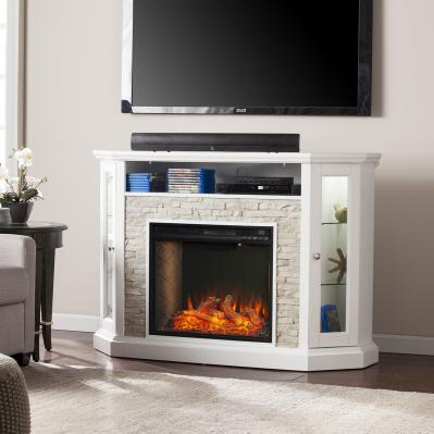 Redden Corner Convertible Smart Fireplace w/ Storage - White