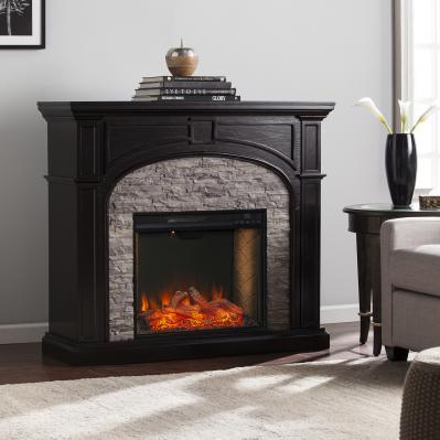 Tanaya Alexa Smart Fireplace w/ Faux Stone