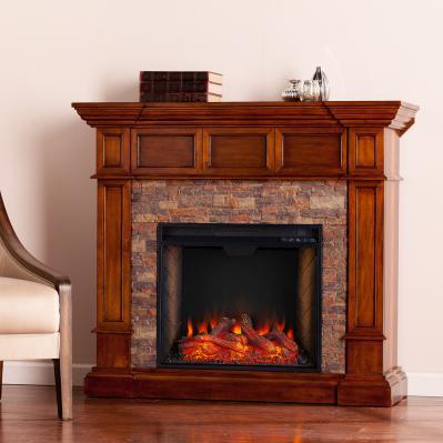 Merrimack Smart Convertible Fireplace w/ Faux Stone -  Buckeye Oak