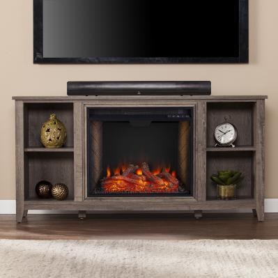 Parkdale Smart Fireplace w/ Storage - Mocha Gray