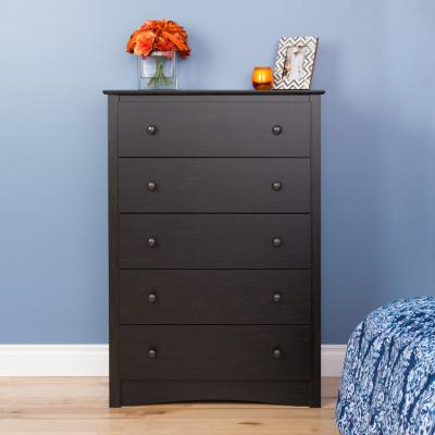Riverdale 5-Drawer Chest, Washed Black