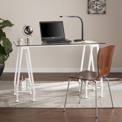 Jaymes Metal/Glass Desk - White