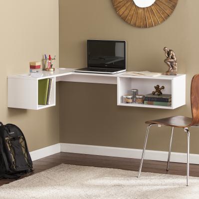 Fynn Wall Mount Corner Desk - White