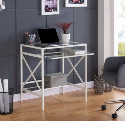 Elvan Metal/Glass Small-Space Desk - White