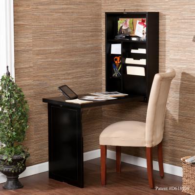 Fold-Out Convertible Desk - Black