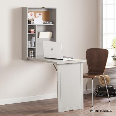 Fold-Out Convertible Desk - Gray
