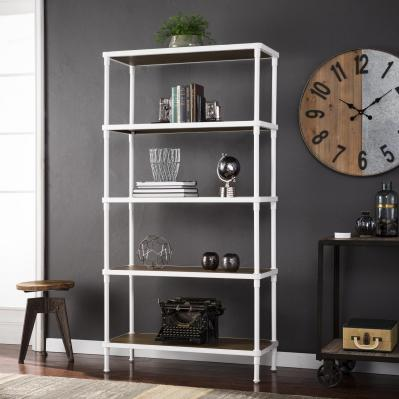Kiev 5-Tier Bookcase -Industrial Style - White
