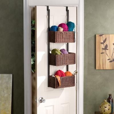 Over-The-Door 3-Tier Basket Storage - Espresso W/ Black