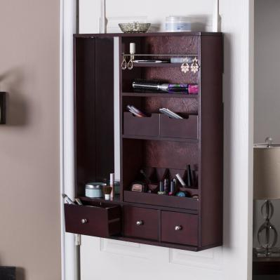 JAZMIN OVER-THE-DOOR MAKEUP MIRROR/ORGANIZER