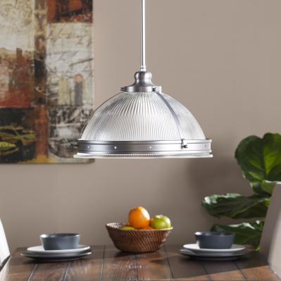 Ellerby Half Globe Pendant Lamp - Satin Chrome