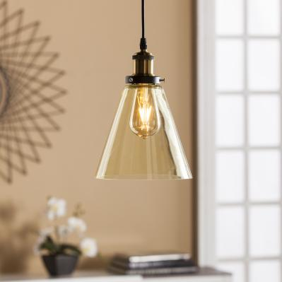 Tanaro Colored Glass Mini Pendant Lamp - Champagne Amber