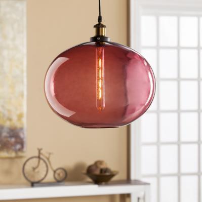 Mera Colored Glass Pendant Lamp - Magenta