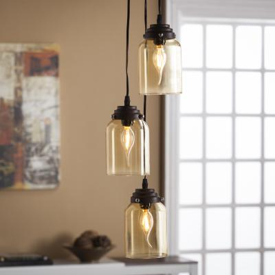 Tresa Colored Glass Triple Pendant Lamp - Amber