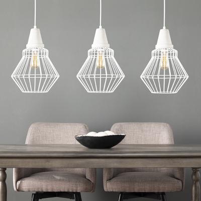 Brodiman Cage Pendant Lamp Collection - 3pc Set - White