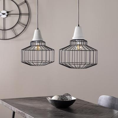 Brantville Black Cage Pendant Lamps - 2pc Set