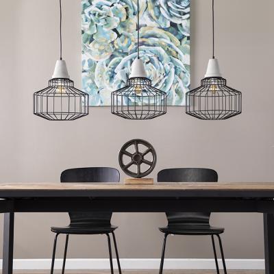 Brantville Black Cage Pendant Lamps - 3pc Set