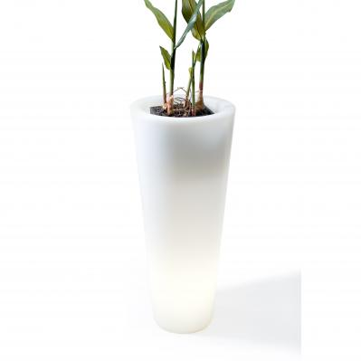 Conic Pot Tall - White (with outdoor cord, and waterdrain system)
