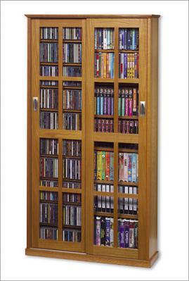 Glass Sliding 2-Door Mission Media Cabinet With Hardwood Veneer