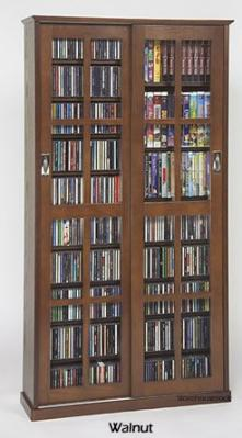 Glass Sliding 2-Door Mission Media Cabinet With Hardwood Veneer