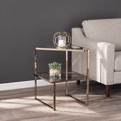 Tremmington Mirrored Side Table w/ Faux Stone Glass