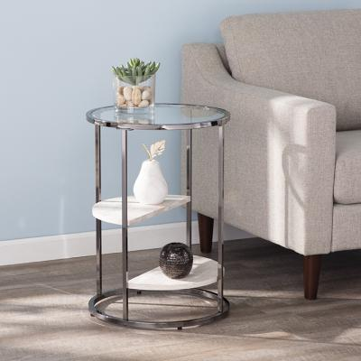 Ledermore Round Side Table w/ Faux Stone