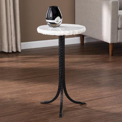 Grendon Round Marble-Top Accent Table