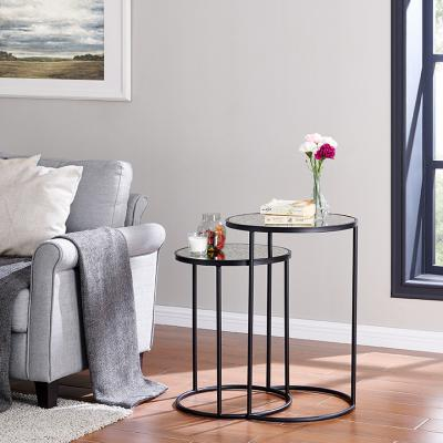 Alcovy Black Metal Nesting Accent Tables – 2pc Set