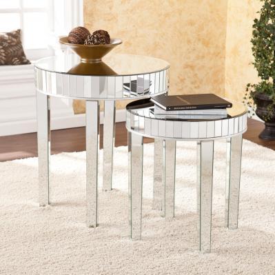 Round Mirrored Nesting Table 2pc Set