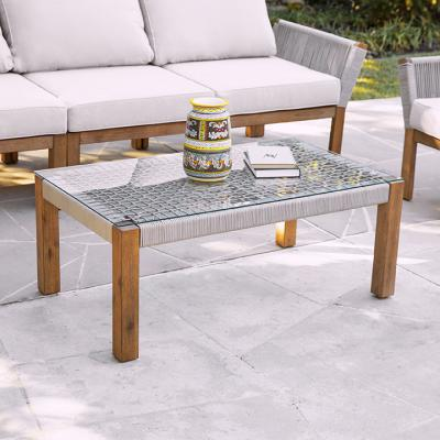 Brendina Outdoor Glass-Top Cocktail Table