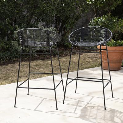 Caltaro Pair of All-Weather Rattan Outdoor Stools