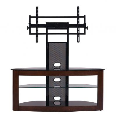 Flat panel TV universal mounting system with 3 AV component shelves (Dark Oak/Black)