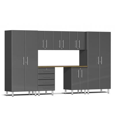 Ulti-MATE Garage 2.0 Series 8-Piece Kit with Bamboo Worktop Graphite Grey