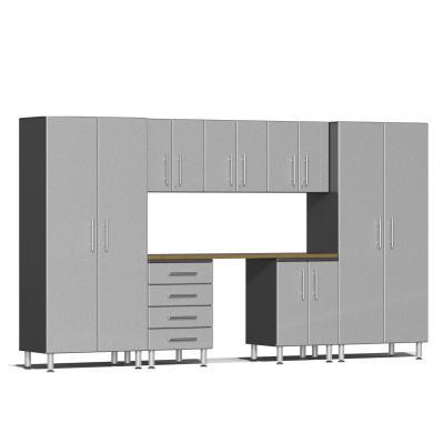 Ulti-MATE Garage 2.0 Series 8-Piece Kit with Bamboo Worktop Stardust Silver Metallic