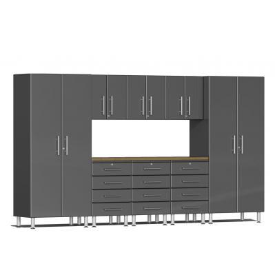Ulti-MATE Garage 2.0 Series 9-Piece Kit with Bamboo Worktop Graphite Grey