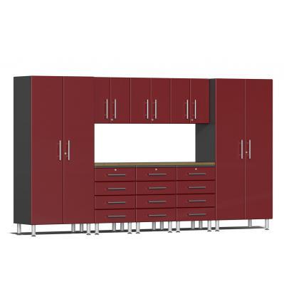 Ulti-MATE Garage 2.0 Series 9-Piece Kit with Bamboo Worktop Ruby Red Metallic