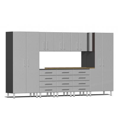 Ulti-MATE Garage 2.0 Series 9-Piece Kit with Bamboo Worktop Stardust Silver Metallic