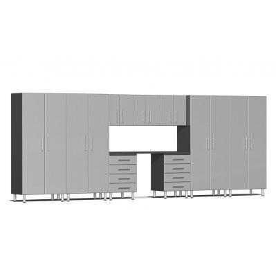 Ulti-MATE Garage 2.0 Series 10-Piece Kit with Recessed Worktop Stardust Silver Metallic