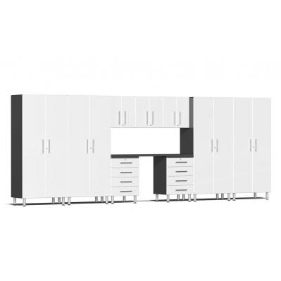Ulti-MATE Garage 2.0 Series 10-Piece Kit with Recessed Worktop Starfire White Metallic