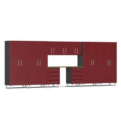 Ulti-MATE Garage 2.0 Series 10-Piece Kit with Bamboo Worktop Ruby Red Metallic