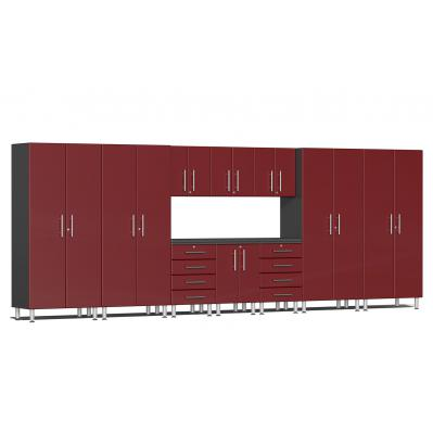 Ulti-MATE Garage 2.0 Series 11-Piece Kit with Workstation Ruby Red Metallic
