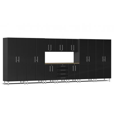 Ulti-MATE Garage 2.0 Series 11-Piece Kit with Bamboo Worktop Midnight Black