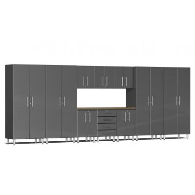 Ulti-MATE Garage 2.0 Series 11-Piece Kit with Bamboo Worktop Graphite Grey