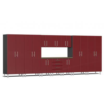 Ulti-MATE Garage 2.0 Series 11-Piece Kit with Bamboo Worktop Ruby Red Metallic