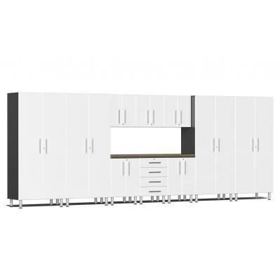 Ulti-MATE Garage 2.0 Series 11-Piece Kit with Bamboo Worktop Starfire White Metallic