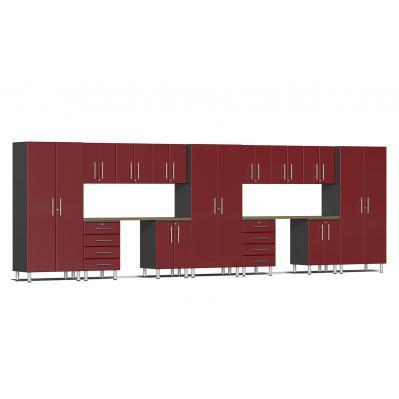 Ulti-MATE Garage 2.0 Series 15-Piece Kit with Dual Workstation Ruby Red Metallic