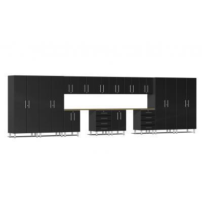 Ulti-MATE Garage 2.0 Series 16-Piece Kit with Dual Workstation Midnight Black