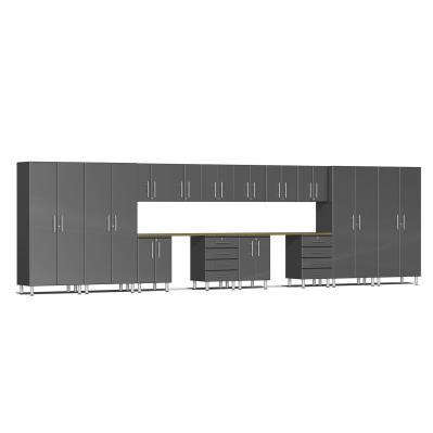 Ulti-MATE Garage 2.0 Series 16-Piece Kit with Dual Workstation Graphite Grey