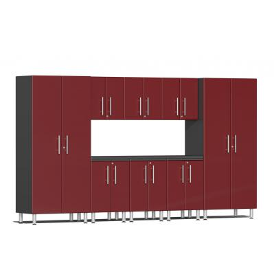 Ulti-MATE Garage 2.0 Series 9-Piece Kit with Worktop Ruby Red Metallic