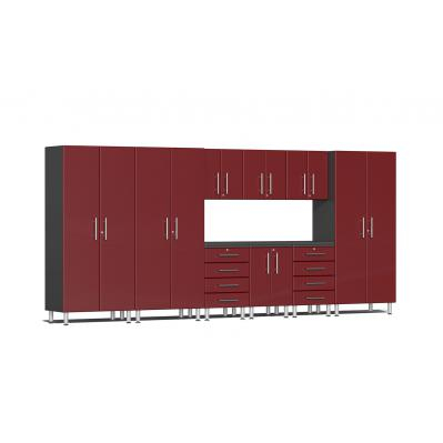 Ulti-MATE Garage 2.0 Series 10-Piece Kit with Recessed Worktop Ruby Red Metallic