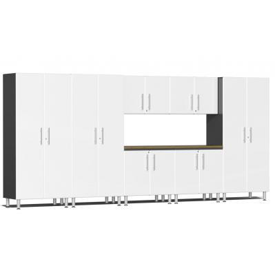 Ulti-MATE Garage 2.0 Series 8-Piece Kit with Bamboo Worktop Starfire White Metallic